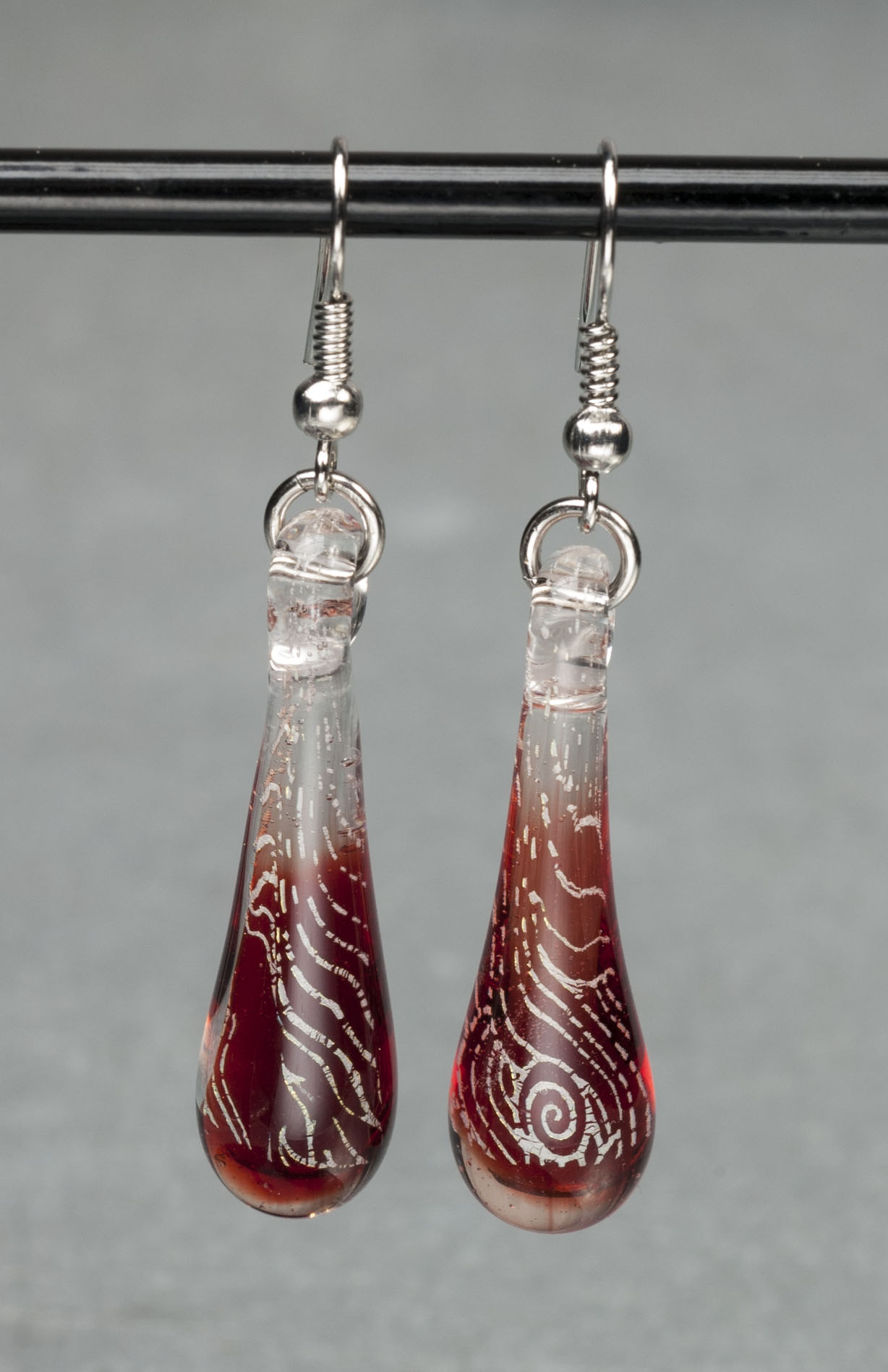 Red flame glass earrings the waterfire store for Heng kunthea jewelry shop