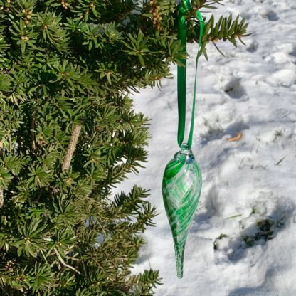 Green Twist Glass Ornament 1